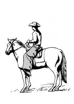 Kleurplaat cowboy op paard. Kinderen leren terwijl ze kleuren. Afbeeldingen voor scholen en onderwijs - afb 18947.