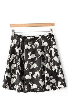 Cute Cat Printing Skirt