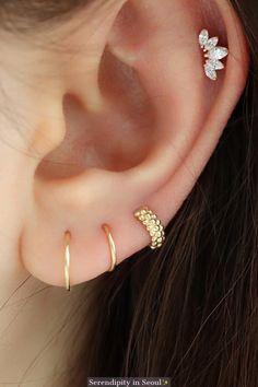gold tiny wide beaded huggie hoop earring, best for third or fourth lobe piercings! Ear Jewelry, Crystal Jewelry, Crystal Earrings, Fine Jewelry, Jewelry Model, Beaded Earrings, Silver Jewelry, Pandora Earrings, Jewelry Stand