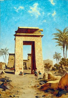THE SOUTH GATE, KARNAK 1889 by Paul Rudolf Linke - German, 1844 -1917