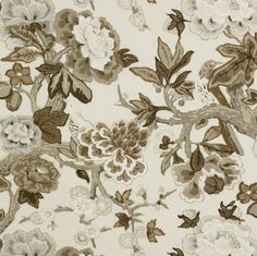 F. Schumacher Bermuda Blossoms-Snow 175871 Interior Decor Fabric -