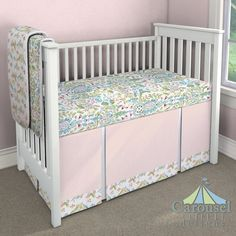 Designed by Julie  Crib bedding in Love Bird Damask, Love Birds, Solid Pale Pink. Created using the Nursery Designer® by Carousel Designs where you mix and match from hundreds of fabrics to create your own unique baby bedding. #carouseldesigns