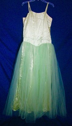 Princess Gown Costume Tinkerbell Long Formal Pageant Green Satin Tulle Green SZ #Unbranded #BallGown #Formal