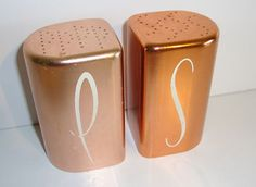 MID Century Retro 1950'S Salt AND Pepper Shakers Pink Copper ART Deco Kitchen EX | eBay