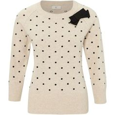 Polka Dot Sweater With Bow