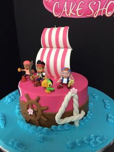 Disney Party Ideas: Jake and the Neverland Pirates Party cake Shared Birthday Parties, 4th Birthday Cakes, Pirate Birthday, Birthday Ideas, Jake Cake, Bolo Jake, Cake Pops, Novelty Cakes, Happy Party