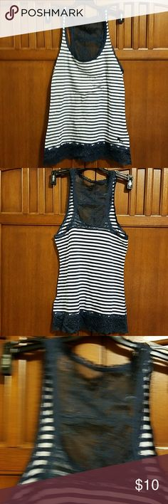 Abercrombie & Fitch tank top Blue and white striped tank top with lace trim on the bottom and also adorning the back.   EUC, no tears or stains, smoke-free home Abercrombie & Fitch Tops Tank Tops
