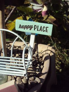 Fairy Garden Miniature Sign Happy Place by HelloLittleCloud