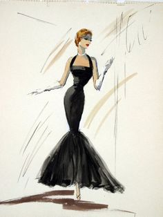 #Edith Head sketch for Eleanor Parker in A Hole In The Head (1959) by leigh