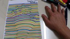 Canetinhas coloridas sobre papel. Trabalho para plano de aula. A Mão 3D. Estudo sobre Op-Art.