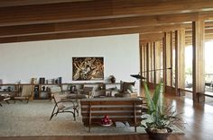 Dark wood sets a dramatic tone in the lounge area.