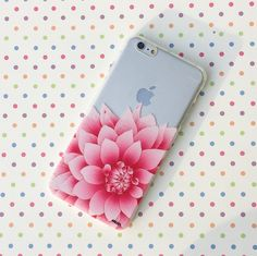 """Clear Plastic Case Cover for iPhone 6 (4.7"""") Henna The Dahlia"""