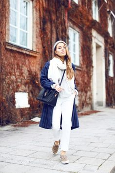 justthedesign:  Pinstriped Outfit:Angelica Blick is wearing a pinstripe coat fromBaum & Pferdgarten