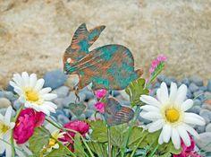 Rabbit Bunny Stake / Yard Art / Copper Art / Metal Garden Art / Farm Animal / Indoor Outdoor / Garden Sculpture / Barnyard Gift / Handmade