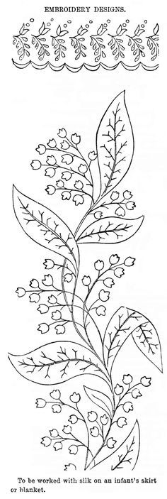 Vintage Embroidery Designs Lily of the Valley Embroidery Pattern - Vintage Crafts and Embroidery Designs, Embroidery Flowers Pattern, Simple Embroidery, Embroidery Transfers, Machine Embroidery Patterns, Silk Ribbon Embroidery, Crewel Embroidery, Embroidery Kits, Embroidered Silk