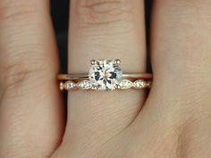 Skinny Alberta 7mm &Christie 14kt RGold Morganite and Diamond Set   rosadosbox - Jewelry on ArtFire