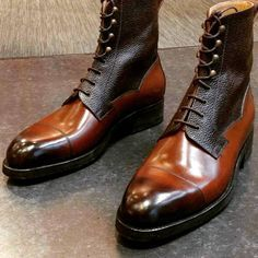 Vass MTO High Boots in a beautiful combination of calf and scotchgrain leather. With Dainite rubber soles. Ankle Boots Men, Mens Shoes Boots, Leather Shoes, Men's Shoes, Shoe Boots, Dress Shoes, Soft Leather, Flat Shoes, Nike Shoes