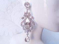 "3"" Long Romantic Victorian Chandelier Bridal Earrings Pave Swarovski Crystal Wedding Jewelry Vintage Glam Bride 1920s Art Deco Prom by dalfiya on Etsy"