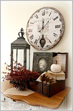 The Fancy Shack: ~Fall Vignettes~ love the picture frame & clock