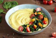 Kürbis-Ziegenkäse-Polenta mit gerösteten Tomaten und Blattspinat (vegetarisch) | Knorr