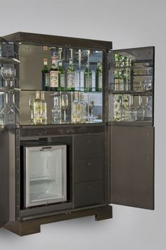 Rupert Bevan - Commissions - Cocktail Cabinet with Antiqued Mirror Sideboard Furniture, Bar Furniture, Antique Mirror Glass, Antiqued Mirror, Modern Drinks Cabinet, Hotel Minibar, Whisky Bar, Model House Plan, Glass Rack