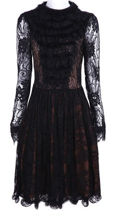 Black Long Sleeve Hollow Pleated Lace Dress <3
