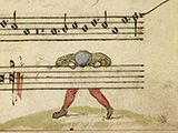 I never thought of using a line filler for music before ... Where did all of the notes go? Cambrai manuscript.  B f. 010.