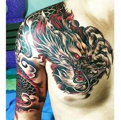 Dragon Tattoo is one of the most popular mystical tattoos. Dragon Tattoo is one of the most popular mystical tattoos. Like most other mythological tattoos, dragon tattoos are perceived in different ways by different cultures aroun Dragon Tattoo Chest, Dragon Tattoo Shoulder, Dragon Tattoos For Men, Dragon Sleeve Tattoos, Dragon Tattoo Designs, Tattoos For Guys, Koi Dragon Tattoo, Japanese Tattoo Art, Japanese Dragon Tattoos