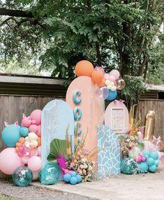Backdrop Decorations, Balloon Decorations, Backdrops, Birthday Balloons, Birthday Parties, Panda Themed Party, Boho Garden Party, Baby Girl Birthday, Party Props