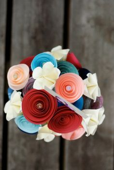 Bride's Bouquet (need to tweak--no cardholder, vase or filler; wrap with ribbon, maybe add aluminum swirls