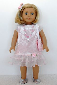 American Girl 18 inch Doll Clothes Pink Crushed Velvet Dress Purse Cross Necklace Silver Shoes