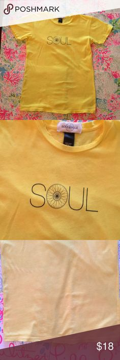 SoulCycle fitted tee yellow SOUL size medium Distressed bright yellow short sleeve t-shirt from soul Cycle. 100% cotton size medium. Factory distressing at the arm holes and bottom hem. Very soft. O of soul is a cycling wheel. Perfect for any indoor or outdoor biker! soulcycle Tops Tees - Short Sleeve