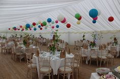 Colourful paper lanterns designed to 'Welcome Spring'.Colours included duck egg, yellow, aquamarine, blues and reds Wedding Lanterns, Marquee Wedding, Hanging Paper Lanterns, Marquee Hire, Lantern Designs, Welcome Spring, Luxury Wedding, Backdrops, Colours