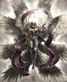 Angewomon by polarwiesel Fantasy Art Women, Dark Fantasy Art, Fantasy Girl, Fantasy Artwork, Fantasy Creatures, Mythical Creatures, Fantasy Character Design, Character Art, Digimon Wallpaper