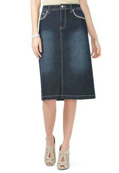 Cato Fashions Cross Stitch Pocket Denim Skirt CatoFashions