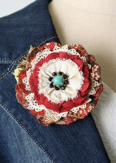 Red Floral Brooch by Rosy Posy Designs