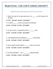 Modal Verbs, Printable modals exercises and worksheets
