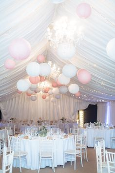 Stylish & Relaxed Pink & Blue Spring Barn Wedding Pretty spring barn wedding with rustic touches and a romantic lace wedding dress by Maggie Sottero. Wedding Lanterns, Marquee Wedding, Wedding Balloons, Wedding Reception, Rustic Wedding, Our Wedding, Wedding Venues, Dream Wedding, Lace Wedding
