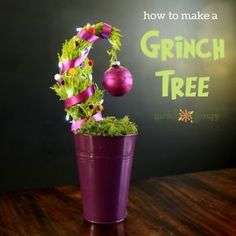 This miniature Grinch tree is a festive alternative to a potted plant. If you don't have the room for a full-size holiday tree, want something quirky for your desk at work, or just want a fun hostess gift...
