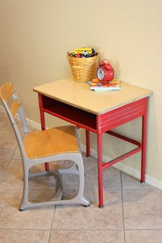old vintage school desk makeover...I had one of these when I was a kid!