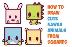 Today I will show you how to draw cute kawaii-style characters and animals using a square shape. These are super easy to learn how to draw, especially beca