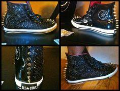 I-can't-decide-if-I-wanna-look-hardcore-or-fabulous custom Chucks #converse #chucktaylor #hightops