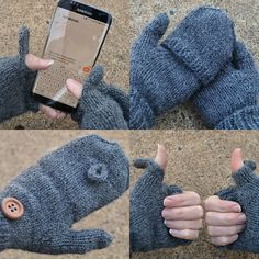 Convertible texting mittens knitting pattern on Ravelry