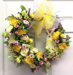 Garden Bunny Easter Wreath...Spring Grapevine by SeasonsAtRosehill, $57.99