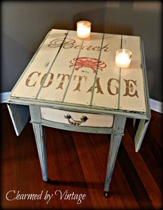 Beach Cottage meets Key West Vintage End Table by Charmed By Vintage, (Annie Sloan Chalk Paint). Possible idea for upstairs furniture Hand Painted Furniture, Paint Furniture, Repurposed Furniture, Furniture Projects, Furniture Making, Furniture Makeover, Beach Cottage Decor, Coastal Decor, Beach Cottages