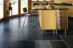 Kitchen Tile Flooring Designs Ideas: Cool Kitchen Black Slate Tile Flooring Design With Kitchen Island Chairs Ideas ~ wetwillieblog.com Chairs Inspiration