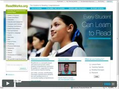 ReadWorks.org website with free comprehension lesson ideas, book links, and short passages