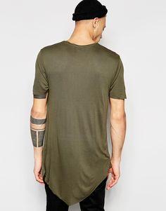 Camiseta drapeada y asimétrica en caqui de River Island e849006b306a9
