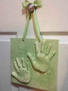 3D Clay Handprint Sibling Plaque by MemoriesInClay on Etsy, $60.00