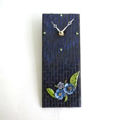 Mosaic Wall Clock Blue Purple Floral Enamel and by MosaicSmith